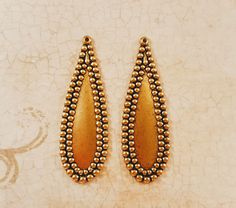 Matte Gold Ox Charms with Beaded Edge Stampings (2) - GOS8303