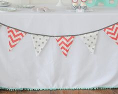 Adorable linen with teal poms | Monogram Baby Shower Hostess Kit by Undercover Hostess