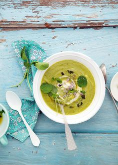 pea, zucchini and watercress soup