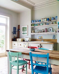 white room with colorful pops Country Kitchens, Farmhouse Plans, Neutral, Cottage, Colorful, How To Plan, Table, Room, Furniture