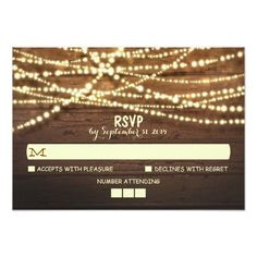 String Lights Wooden Rustic Wedding RSVP Card Custom Invite