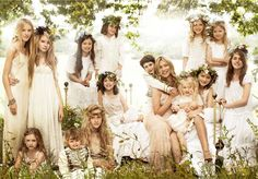 Flower children - bridal party of Kate Moss - shot by Mario Testino for Vogue