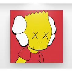 """kaws sculpture   Home » Kaws """"Bar Simpson"""" Canvas Art Print (Red)"""