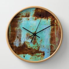 Rusted Tin wall clock, abstract photography, distressed, painted, blue, brown, rust, teal, aqua, shabby, grunge, Lesvos Greece by aeolia on Etsy