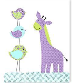Giraffe Nursery Art, Bird Nursery Decor, Aqua Green Purple, Girl's Room Decor, Zoo Nursery, Safari Decor, Jungle Animal Decor, Girls Bedroom by SweetPeaNurseryArt on Etsy