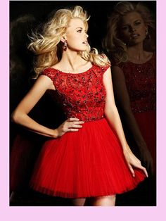 Red Beading Tulle 2013 Short Prom Dress by Anna Jacky, via Flickr