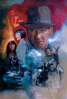 'Indiana Jones and the Kingdom of the Crystal Skull', Harrison Ford Harrison Ford, Henry Jones Jr, Indiana Jones Films, Arte Sketchbook, The Lone Ranger, Kunst Poster, Adventure Movies, Movie Poster Art, Illustration