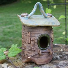 Decorative Birdhouse - Whimsical Stoneware Birdhouse - Ceramic Bird House - Blue and Brown Clay House - Made in Maine on Etsy, $75.00