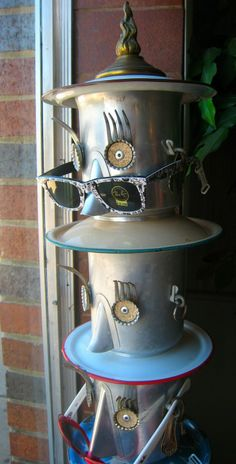 vintage coffee pot totem - repurposed garden art