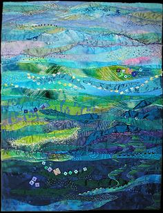 Blue Ocean, Turquoise Sea:   Machine curved piecing, sheer overlay, hand and machine embellishment, hand embroidery, beading. Cotton, silk, organza, silk thread, cotton thread, beads.