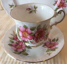 Paragon-English-Bone-China-Trio-Cup-Saucer-Dessert-Plate-PRAIRE-ROSE