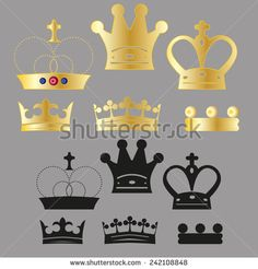 vector set of various crown for logo or icons - stock vector