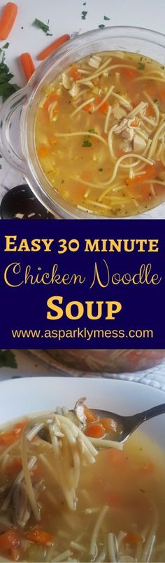 Warm up with this delicious Homemade Quick & Easy Chicken Noodle Soup. With pre-cooked chicken, healthy veggies and a flavorful blend of herbs and noodles, this comforting soup can be made in just minutes. This Quick & Easy Chicken Noodle Soup recipe is a perfect winter comfort meal. It is such a good homemade one...