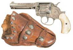 Engraved Colt Model 1878 Frontier Six Shooter Revolver with Pearl Grips and Double Loop Holster