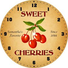 Personalized Cherry Cherries Kitchen Diner Clock 2 | eBay