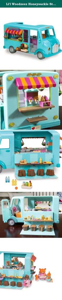 Li'l Woodzeez Honeysuckle Street Treats Food Truck. The adorable characters in Honeysuckle Hollow love to meet out in the woods, and this mobile eatery is a smashing hit. It's freewheeling for mobility, doesn't require batteries, and is easy to clean. Now your child can pretend play in one of the fastest growing areas of the food and restaurant industry! The food truck has a grill and an oven with a working door, cupboards to put away your plates and utensils, even a trap door in the…