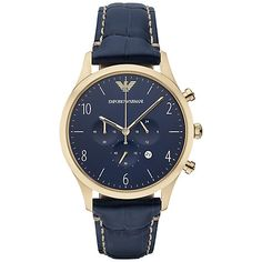 Classic Watch Featuring a blue croc-embossed leather strap, a matching blue dial, gold-tone plating and a chronograph movement, this Emporio Armani style provides a fresh take on definitive style. Men's Watches, Watches For Men, Wrist Watches, Latest Watches, Madrid Barcelona, Emporio Armani Mens Watches, Herren Chronograph, Unisex, Men's Jewelry