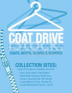 Assortment of coats in. Coat Drive, Charity Poster, Drive Poster, Local Banks, School Decorations, Poster Ideas, Free Vector Art, Flyer Template, Winter Coat