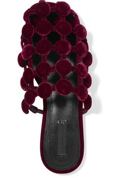 Alexander Wang - Amelia Embellished Velvet Slippers - Burgundy
