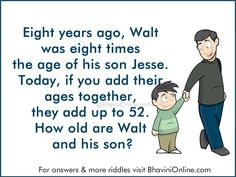 Logical Reasoning Riddle: How Old Are Walt And His Son? | BhaviniOnline.com