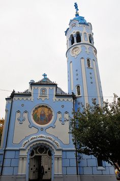 The Blue Church, or Church of St. Elisabeth of Bratislava, Slovakia. The church was built between 1909 and It was one of the last works of the prominent Hungarian architect Ödön Lechner. Bratislava Slovakia, Take Me To Church, Central And Eastern Europe, Religious Architecture, Europe Photos, Place Of Worship, Beautiful Buildings, Kirchen, Art Nouveau