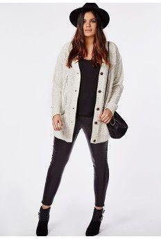 Plus Size Longline Chunky Knit Cardigan Cream