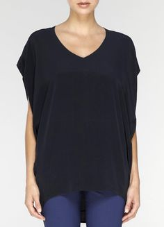 Vince Oversized Silk Tee in Navy Blue