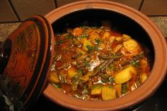 Bulgarian Guvech- Vegetable Casserole With Meat in a Clay Pot -. Photo by Nadia Melkowits