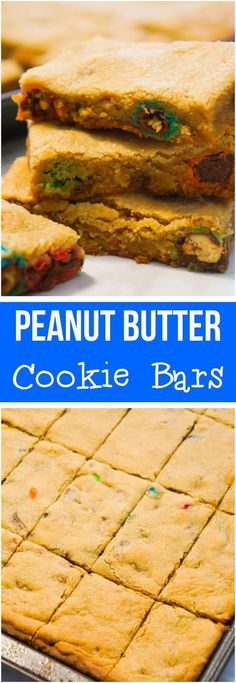 Peanut Butter Cookie Bars loaded with Reese's Peanut Butter Cup chunks and Peanut M&Ms. These cookie bars are an easy dessert recipe that would be a perfect addition to a Christmas treat platter.
