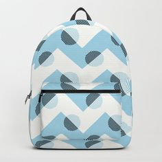 Horizons Geometric Mountain Waves Design 11 - Turquoise Blue Backpack by denidesigns Geometric Mountain, Backpacks For Sale, D Craft, Wave Design, One Size Fits All, Fashion Backpack, Laptop, Handle, Waves