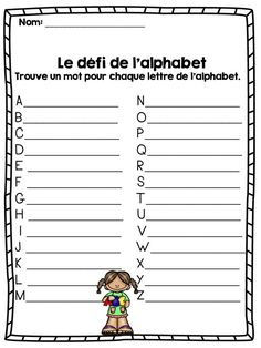 FRENCH Back to school PACK/Ensemble d'activités La rentrée the challenge of the alphabet [ad_ French Teaching Resources, Teaching French, Teaching Spanish, Website Design, Website Layout, French Worksheets, School Pack, French Education, Core French