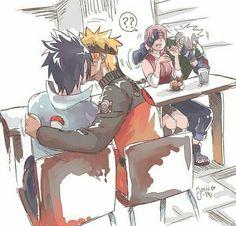 Uzumaki Naruto, Uchiha Sasuke, Haruno Sakura, Hatake Kakashi, kissing, yaoi, cute, funny; Naruto