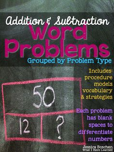 Addition and Subtraction Word Problems Grouped by Problem Type is a year-long resource for problem solving. Total of 156 problems. This packet makes a distinction between procedures (steps in solving a problem), models (which show the relationship between the numbers in the problem) and strategies for computation (such as count on, breaking part a number, etc.). Included are six different models to use with students (all based on inverted-v and bar models).
