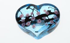 Cherry Blossom Heart Paperweight in Copper Blue