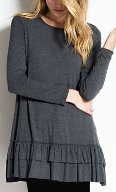 b88be3da Elsie long sleeve pullover knit tunic top with ruffled hem in Grey. Summer  Maternity Fashion