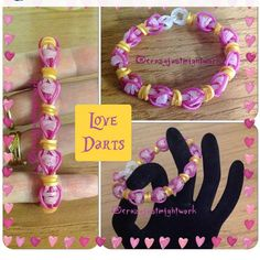 "New ""Love Darts"" Ranbow Loom Bracelet/How To Tutorial Loom Band Bracelets, Rubber Band Bracelet, Rainbow Loom Bracelets, Bracelet Crafts, Rainbow Loom Tutorials, Rainbow Loom Patterns, Rainbow Loom Creations, Loom Bands Designs, Rubber Band Crafts"
