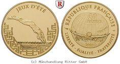 RITTER Frankreich, 10 Euro 2008, Olympische Spiele Peking 2008 - Schwimmen, PP #coins #numismatics