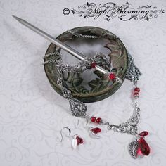 The Merchant's Daughter Hair Sword, Necklace and Earring Set by NightBlooming