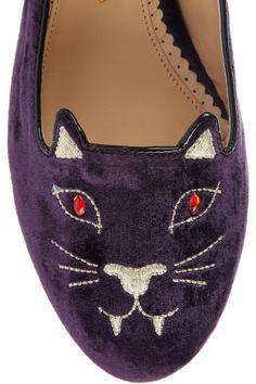Charlotte Olympia|Bite Me Kitty embroidered velvet slippers