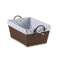 Natural String Large Basket with Dot Liner - Blue Brown Bedroom Walls, Chocolate Color, Large Baskets, Wedding Gift Registry, Bedding Shop, Fine China, Bath Towels, Dots, Blue