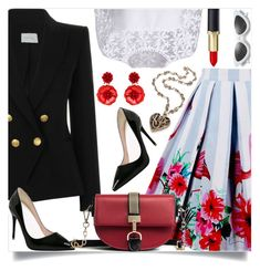 """""""Redd mesage bag"""" by nejra-l ❤ liked on Polyvore featuring Pierre Balmain and Mignonne Gavigan"""