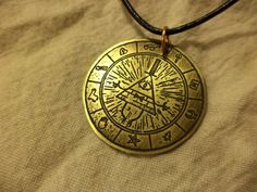Bill Cipher Etched Brass Pendant by CreativeEtching on Etsy