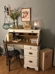 room makeover desk Bought an old used roll top desk and painted it with chalk paint. My girl room makeover is complete. Desk Makeover, Furniture Makeover, Diy Furniture, Desk Redo, Furniture Dolly, Furniture Online, Refurbished Furniture, Repurposed Furniture, Writing Desk With Drawers