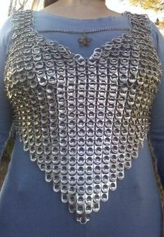 """Diy soda tab corset tutorial - would be cute designed as a """"chain-mail"""" vest for dress-up play for the grand sons."""