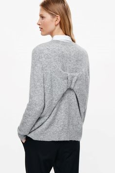 COS image 8 of Bow back jumper in Light Grey
