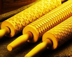 Wood Embossing Rolling Pin, Engraved Roller Stamp, Clay, Cookie, Gift for Mom, Baker - EWRP5021224
