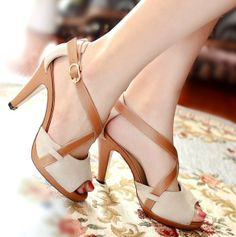 ENMAYER Sexy High Heels Platform Sandals for Women 2014 Gladiator Ankle Straps Open Toe Fashion Casual Dress leather Sandals $69.33