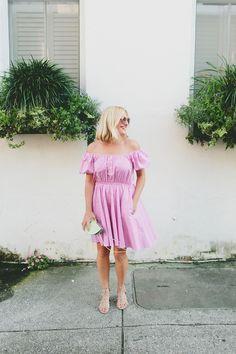 Off Shoulder Gingham Dress  ||  Charleston SC