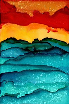 Alcohol Ink Wall Art - Painting - Abstract Seascape Sunset on Fire by Angeline Beres Alcohol Ink Crafts, Alcohol Ink Painting, Alcohol Ink Art, Alcohol Store, Silk Painting, Painting & Drawing, Watercolor Paintings, Gouache Painting, Painting Abstract