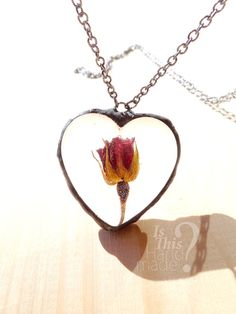 Real red rose heart necklace. 3d rose pendant. by IsThisHandmade